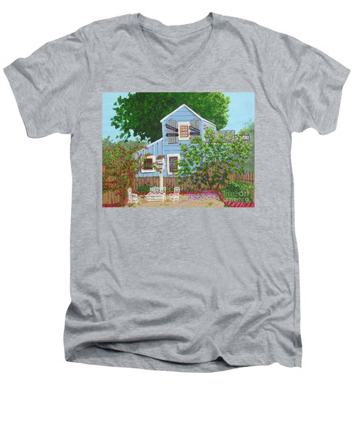 Men's V-Neck T-Shirt featuring the painting Antique Shop, Cambria Ca by Katherine Young-Beck
