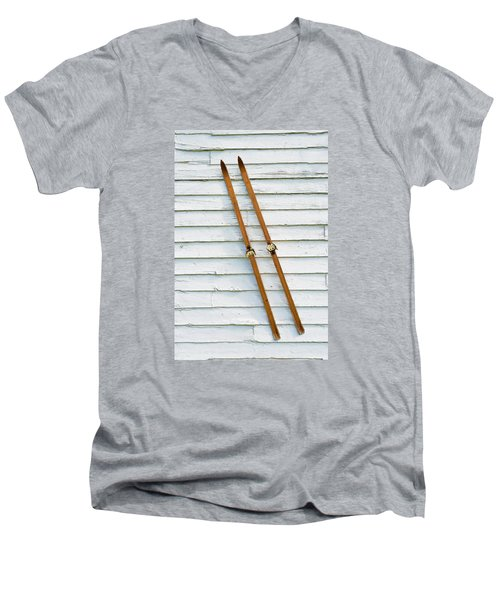 Men's V-Neck T-Shirt featuring the photograph Antique Skis On The Wall by Gary Slawsky