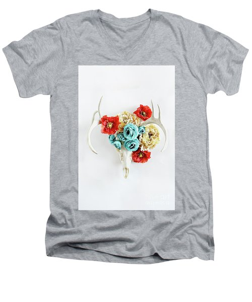 Men's V-Neck T-Shirt featuring the photograph Antlers And Florals by Stephanie Frey
