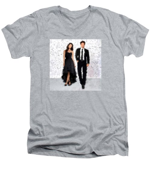 Men's V-Neck T-Shirt featuring the digital art Antonia And Giovanni by Nancy Levan
