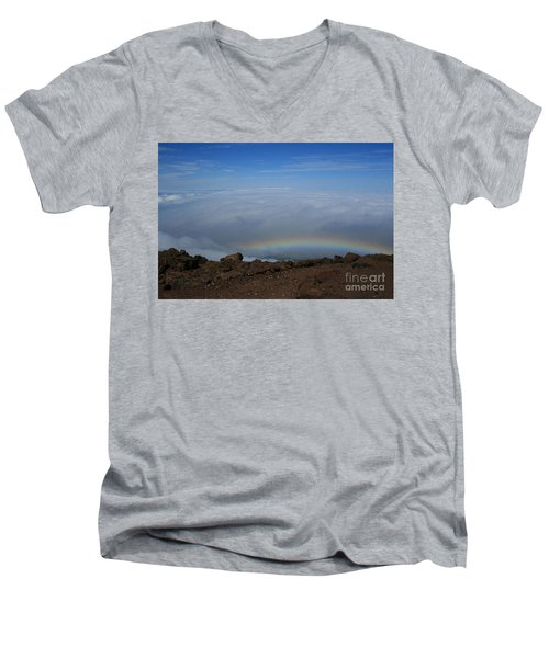 Anuenue - Rainbow At The Ahinahina Ahu Haleakala Sunrise Maui Hawaii Men's V-Neck T-Shirt by Sharon Mau