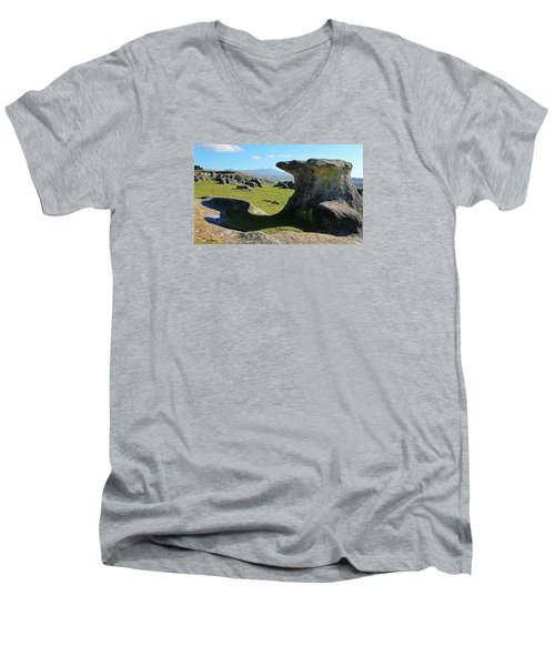 Anvil Rock Men's V-Neck T-Shirt by Nareeta Martin