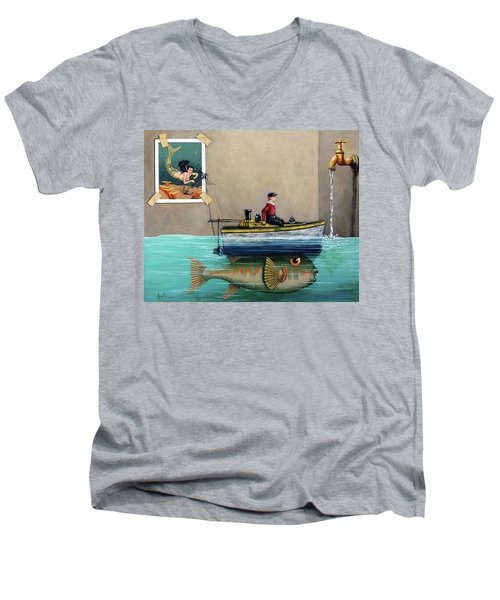 Anyfin Is Possible - Fisherman Toy Boat And Mermaid Still Life Painting Men's V-Neck T-Shirt by Linda Apple