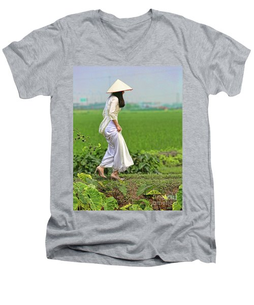 Ao Dai II Men's V-Neck T-Shirt by Chuck Kuhn