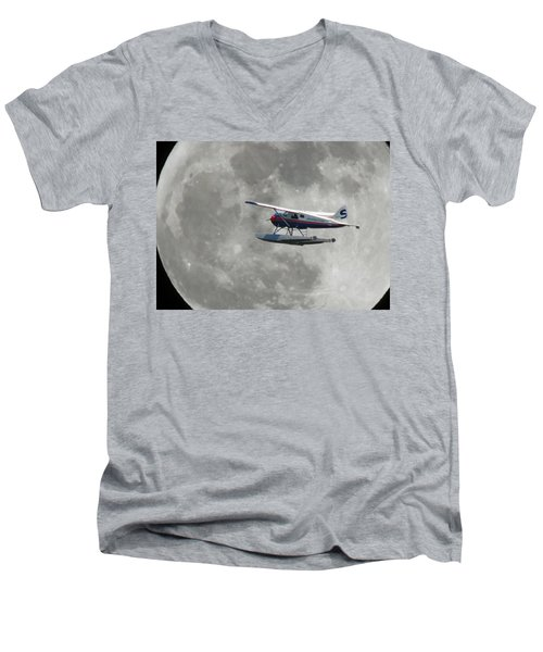 Men's V-Neck T-Shirt featuring the photograph Aop And The Full Moon by Mark Alan Perry