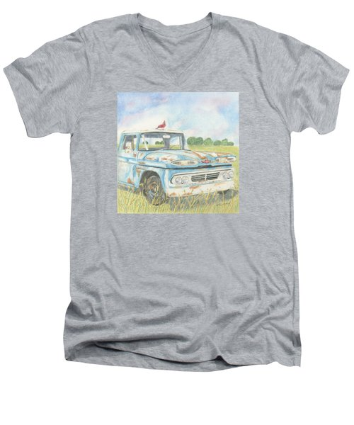Men's V-Neck T-Shirt featuring the drawing Apache Out To Pasture by Arlene Crafton