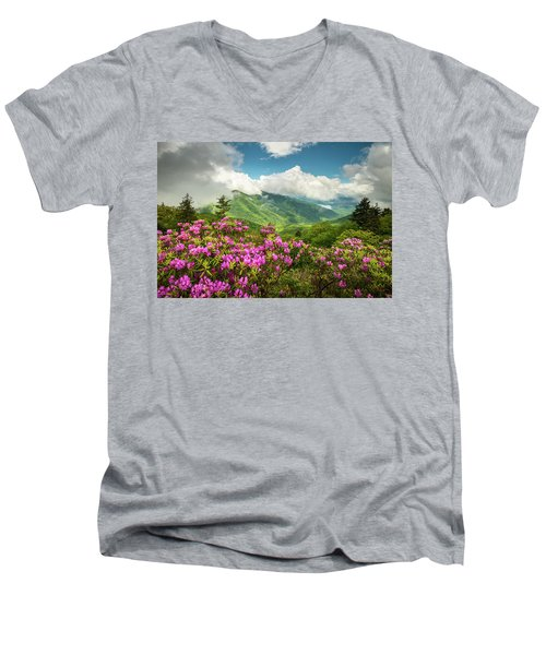Appalachian Mountains Spring Flowers Scenic Landscape Asheville North Carolina Blue Ridge Parkway Men's V-Neck T-Shirt