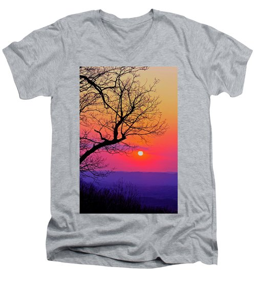 Appalcahian Sunset Tree Silhouette #2 Men's V-Neck T-Shirt