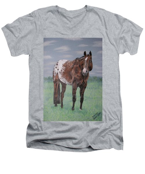 Men's V-Neck T-Shirt featuring the drawing Appaloosa by Melita Safran