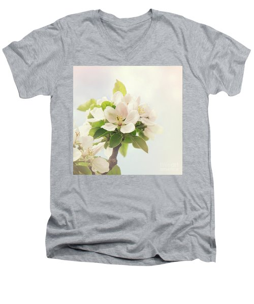 Apple Blossom Retro Style Processing Men's V-Neck T-Shirt
