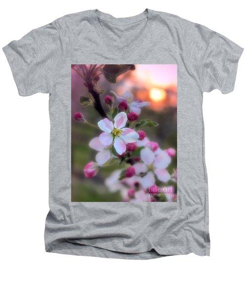 Apple Blossom Sunrise Men's V-Neck T-Shirt by Henry Kowalski