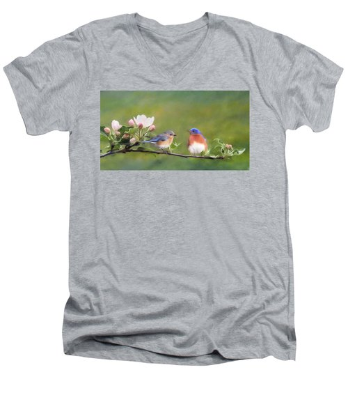 Apple Blossoms And Bluebirds Men's V-Neck T-Shirt