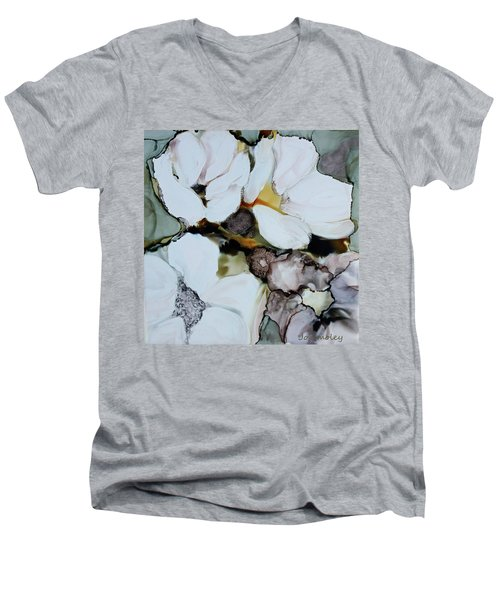 Men's V-Neck T-Shirt featuring the painting Apple Blossoms by Joanne Smoley