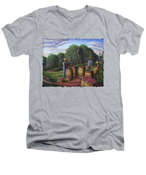 Apple Harvest - Autumn Farmers Orchard Farm Landscape - Folk Art Americana Men's V-Neck T-Shirt by Walt Curlee