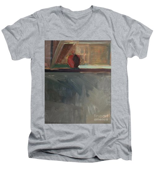Apple On A Sill Men's V-Neck T-Shirt by Daun Soden-Greene