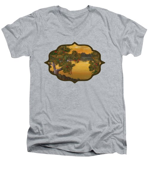 Apple Sunset Men's V-Neck T-Shirt by Anastasiya Malakhova