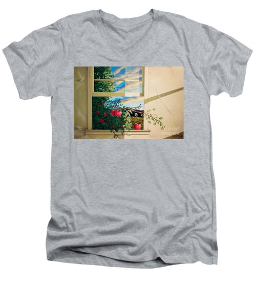Men's V-Neck T-Shirt featuring the painting Apple Tree Overflowing by Christopher Shellhammer