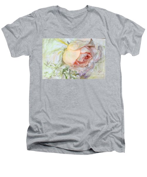 Men's V-Neck T-Shirt featuring the painting Apricot Nectar Rose With Michaelmas Daisy by Ryn Shell