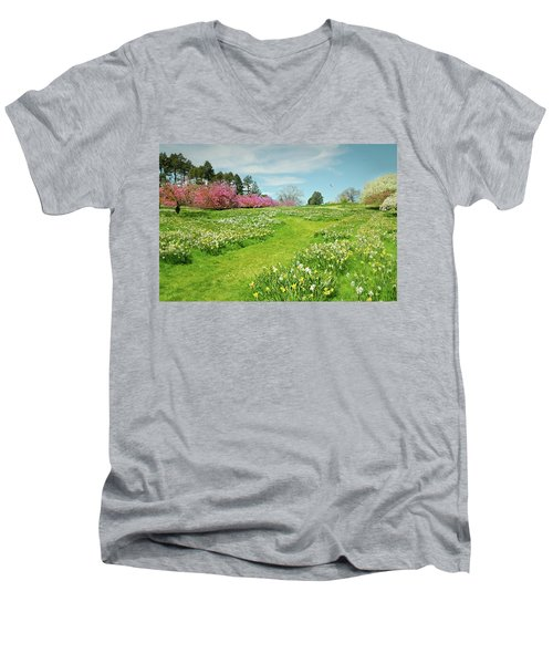 Men's V-Neck T-Shirt featuring the photograph April Days by Diana Angstadt