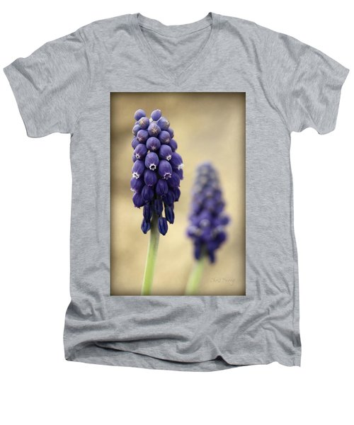 Men's V-Neck T-Shirt featuring the photograph April Indigo by Chris Berry