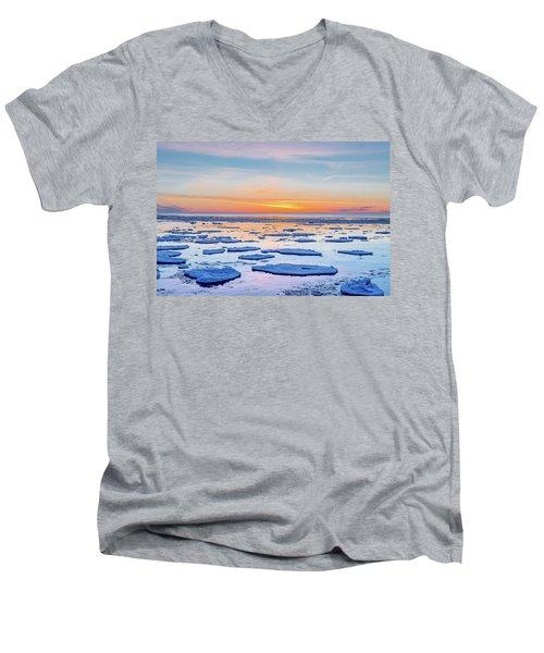 April Sunset Over Lake Superior Men's V-Neck T-Shirt