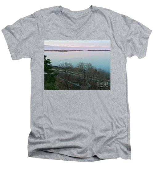 April Twilight On Casco Bay Men's V-Neck T-Shirt