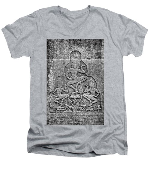 Men's V-Neck T-Shirt featuring the photograph Apsaras 3, Angkor, 2014 by Hitendra SINKAR