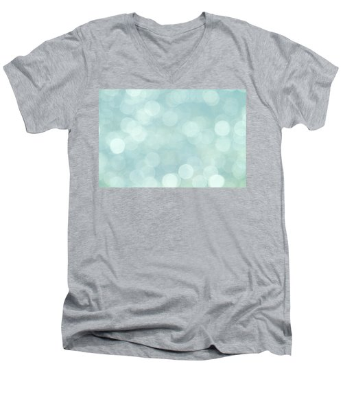 Men's V-Neck T-Shirt featuring the photograph Aqua Abstract by Peggy Collins
