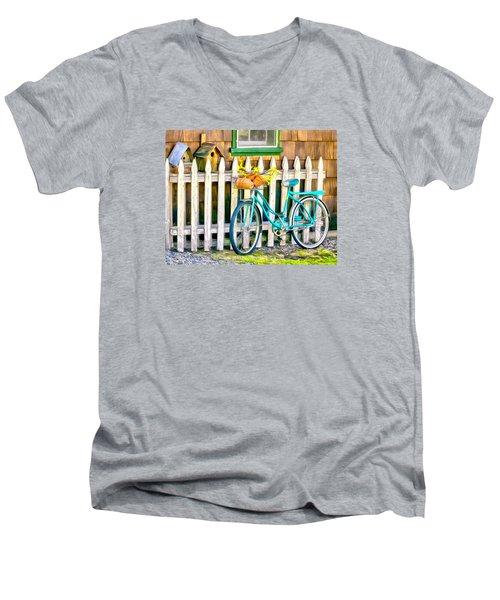 Aqua Antique Bicycle Along Fence Men's V-Neck T-Shirt by Betty Denise