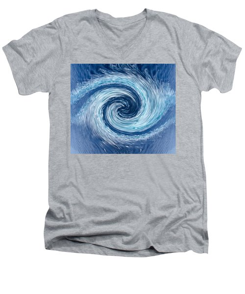 Aqua Swirl Men's V-Neck T-Shirt by Keith Armstrong