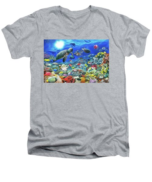 Men's V-Neck T-Shirt featuring the painting Aquarium by Harry Warrick