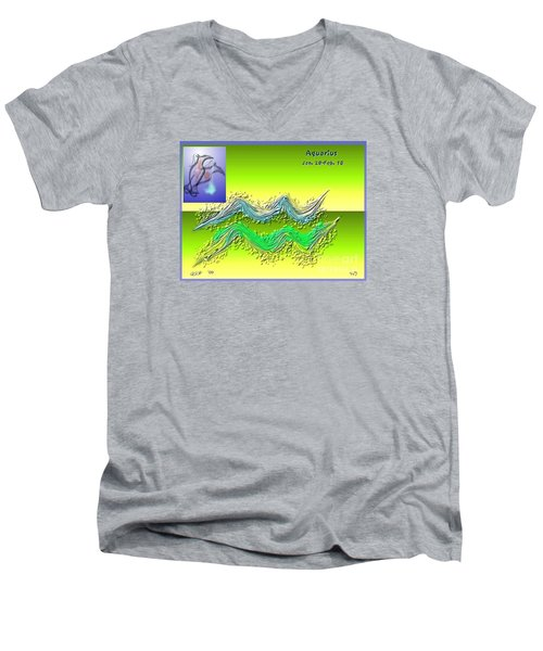 Men's V-Neck T-Shirt featuring the digital art Aquarius By Alice Terrill And Will Baumol by The Art of Alice Terrill