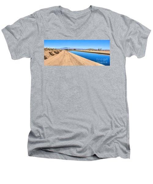 Aqueduct And The Tehachapi Mountains Men's V-Neck T-Shirt