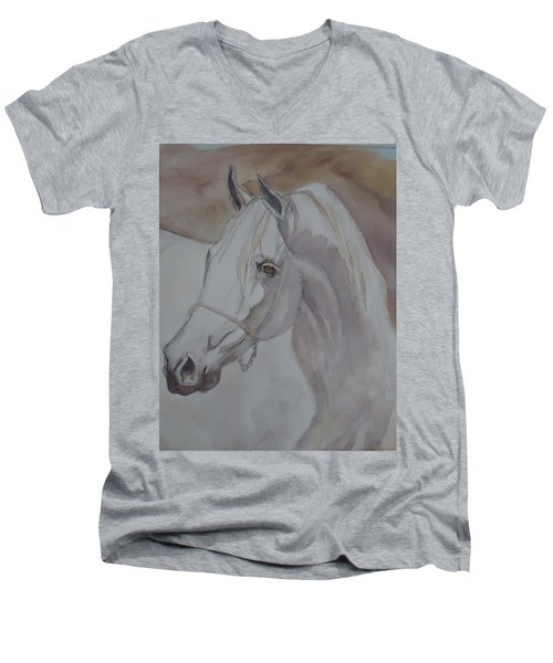 Arab Stallion In The Desert Men's V-Neck T-Shirt