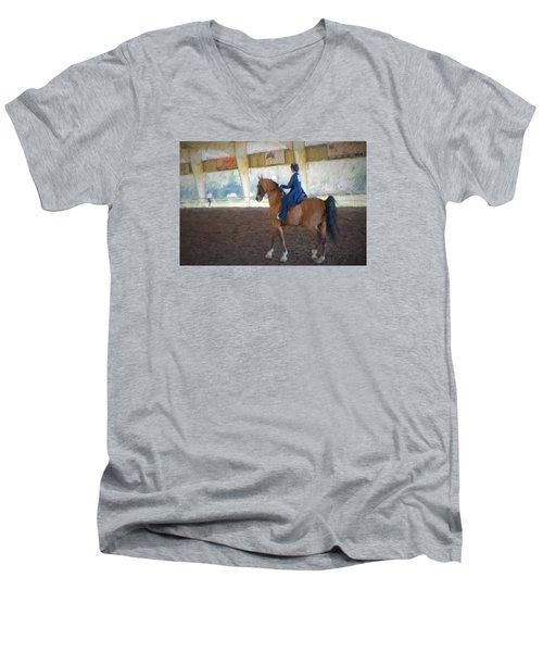 Arabian Dressage Men's V-Neck T-Shirt by Louis Ferreira
