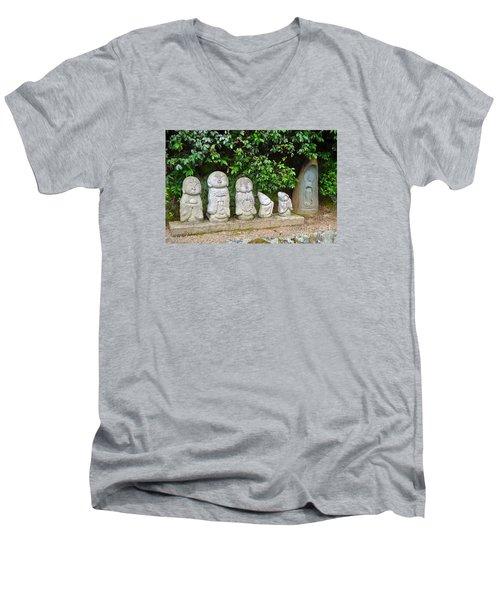 Arashiyama Street Buddah Statues Men's V-Neck T-Shirt