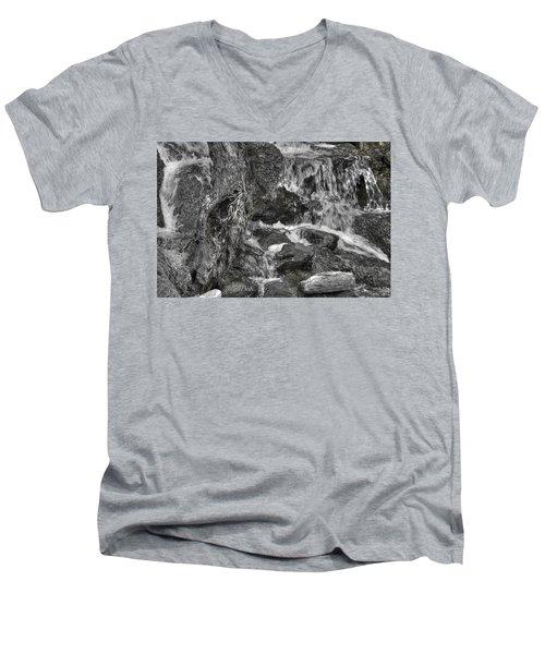 Arboretum Waterfall Bw Men's V-Neck T-Shirt by Richard J Cassato