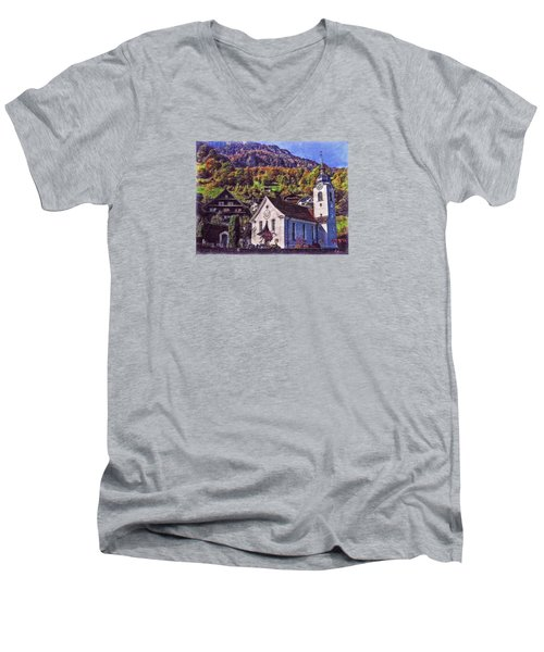 Men's V-Neck T-Shirt featuring the photograph Arcadian Hamlet by Hanny Heim