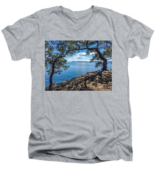 Men's V-Neck T-Shirt featuring the photograph Arch Of Trees by William Wyckoff