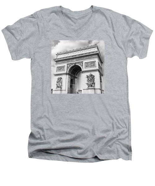 Arch Of Triumph - Paris - Black And White Men's V-Neck T-Shirt