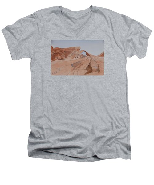 Men's V-Neck T-Shirt featuring the painting Arch Rock - A Watercolor Sketch by Joel Deutsch
