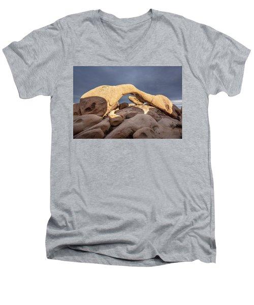 Arch Rock Panorama In Joshua Tree Men's V-Neck T-Shirt by Joe Belanger