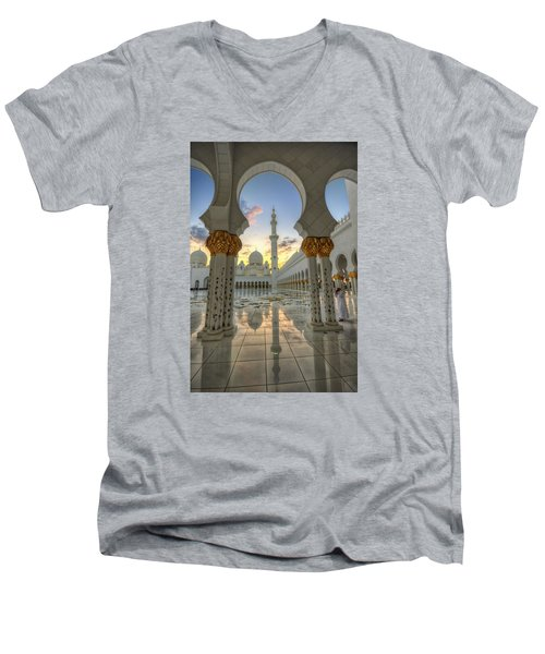 Arch Sunset Temple Men's V-Neck T-Shirt by John Swartz