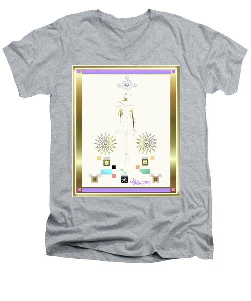 Men's V-Neck T-Shirt featuring the mixed media Archangel Gabriel by Larry Talley