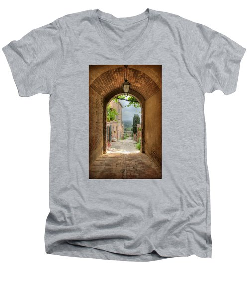 Men's V-Neck T-Shirt featuring the photograph Arched View by Uri Baruch