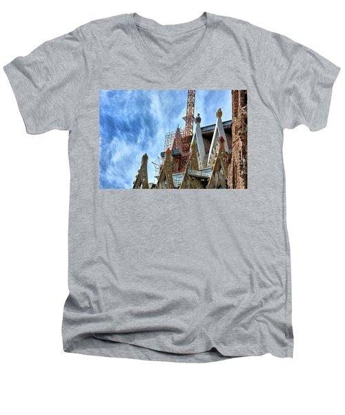 Architectural Details Of The Sagrada Familia Men's V-Neck T-Shirt