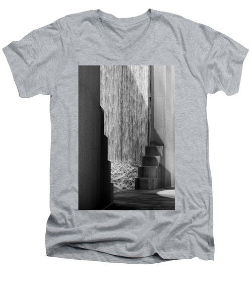 Architectural Waterfall In Black And White Men's V-Neck T-Shirt