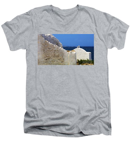 Men's V-Neck T-Shirt featuring the photograph Architecture Mykonos Greece 2 by Bob Christopher