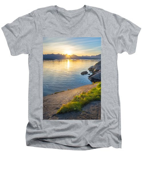 Men's V-Neck T-Shirt featuring the photograph Arctic Sunrise by Maciej Markiewicz