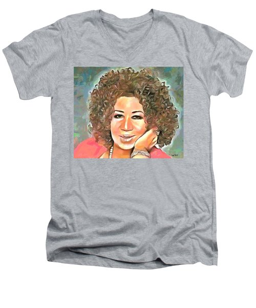 Aretha Franklin Men's V-Neck T-Shirt by Wayne Pascall